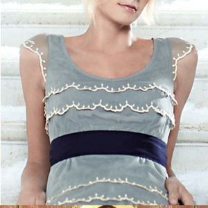 Anthropologie Floreat Ice-Capped Tiered Blouse